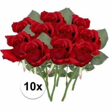 10 x rode roos 30 cm kunstplant steelbloem