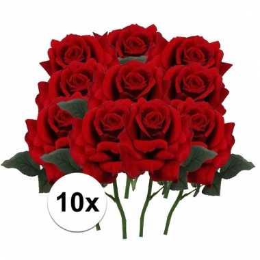 10 x rode roos deluxe 31 cm kunstplant steelbloem