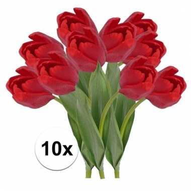 10 x rode tulp 48 cm kunstplant steelbloem