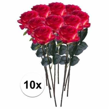 10 x rood/gele roos simone 45 cm kunstplant steelbloem