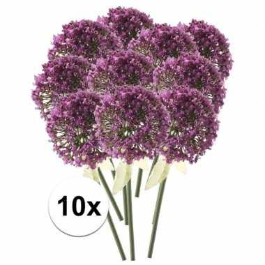 10 x roze/paarse sierui 70 cm kunstplant steelbloem