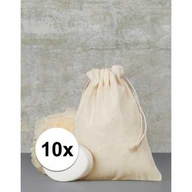 10 x voordelige beige cadeau tasjes 15 x 20 cm