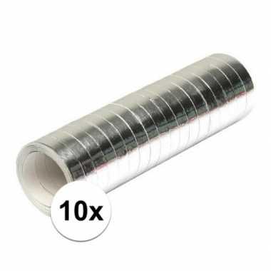 10 zilverkleurige serpentinerollen