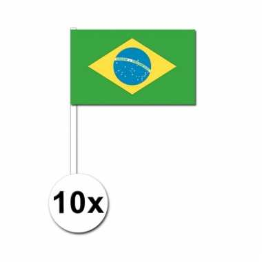 10 zwaaivlaggetjes braziliaanse vlag