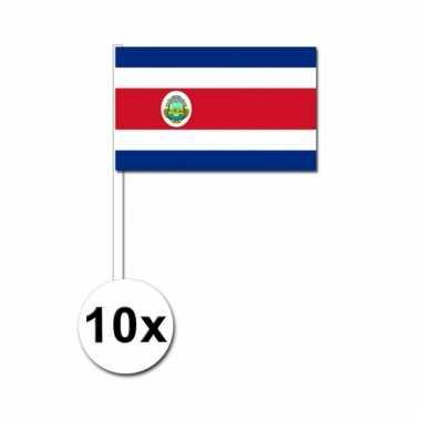 10 zwaaivlaggetjes costa ricaanse vlag