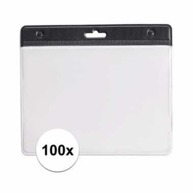 100 badgehouders voor aan een keycord zwart 11,2 x 58 cm