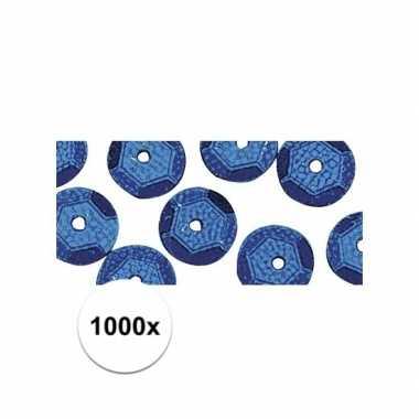 1000x blauwkleurige pailletten 6 mm