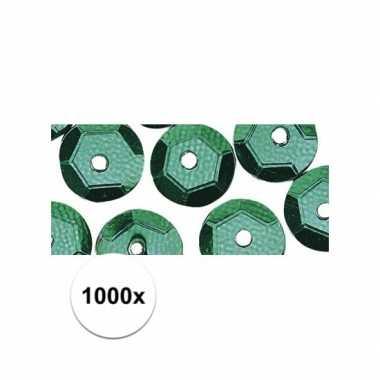 1000x decoratie pailletjes groen 6 mm