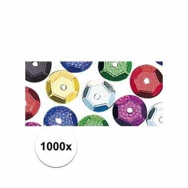 1000x gekleurde pailletjes 6 mm