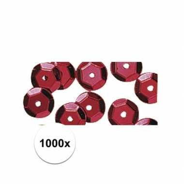 1000x roodkleurige pailletten