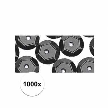 1000x zwarte pailletjes
