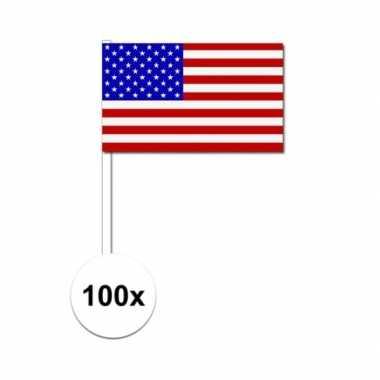 100x amerikaanse fan/supporter vlaggetjes op stok