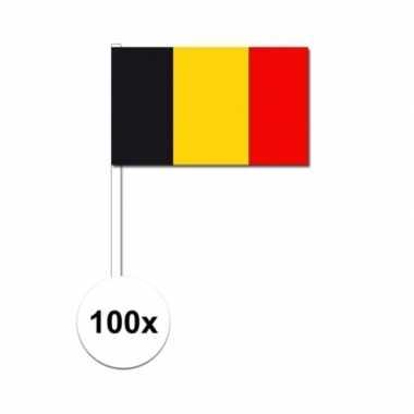 100x belgische fan/supporter vlaggetjes op stok