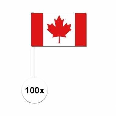 100x canadese fan/supporter vlaggetjes op stok