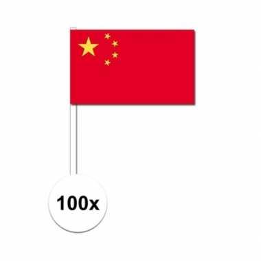 100x chinese fan/supporter vlaggetjes op stok
