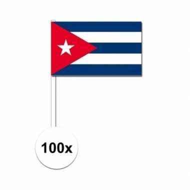 100x cubaanse fan/supporter vlaggetjes op stok