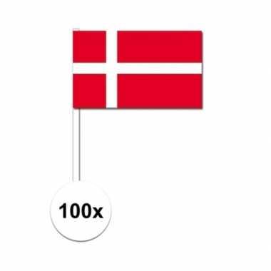 100x deense fan/supporter vlaggetjes op stok