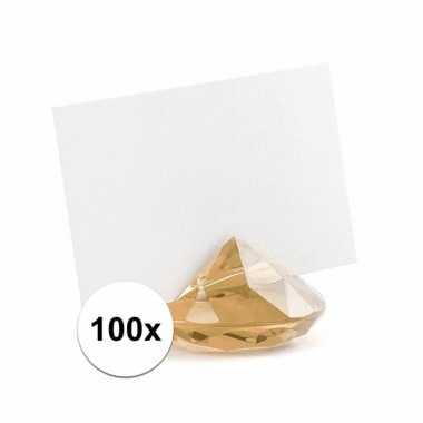100x diamant kaarthoudertjes goud