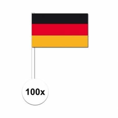 100x duitse fan/supporter vlaggetjes op stok