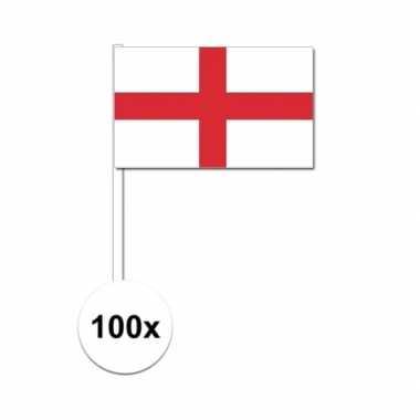 100x engelse fan/supporter vlaggetjes op stok