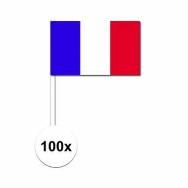 100x franse fan/supporter vlaggetjes op stok