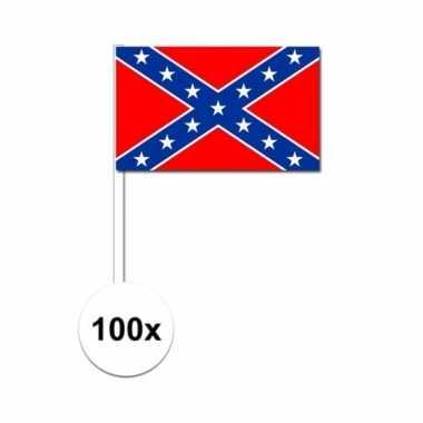 100x geconfedereerde staten van amerika fan/supporter vlaggetjes op s