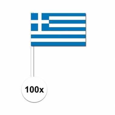 100x griekse fan/supporter vlaggetjes op stok