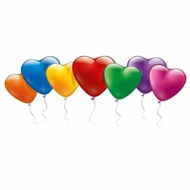 100x hartjes vormige ballonnetjes gekleurd