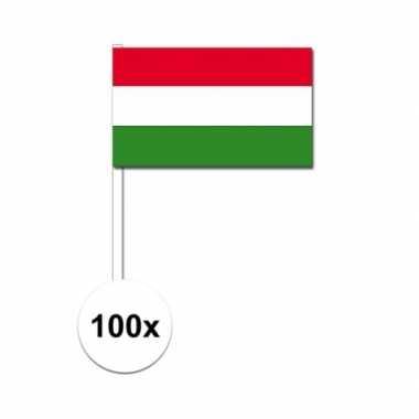 100x hongaarse fan/supporter vlaggetjes op stok