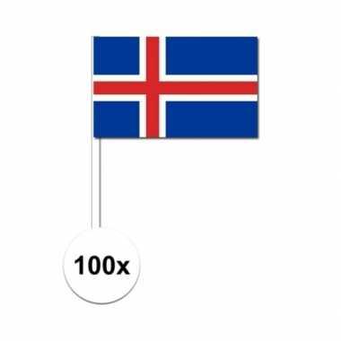 100x ijslandse fan/supporter vlaggetjes op stok