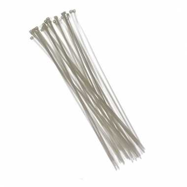 100x kabelbinders tie-wraps wit 3,6 x 200 mm