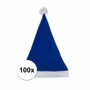 100x klassieke kerstmuts blauw voor volwassenen