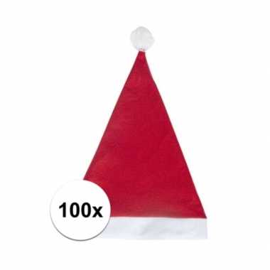 100x klassieke kerstmuts rood voor volwassenen