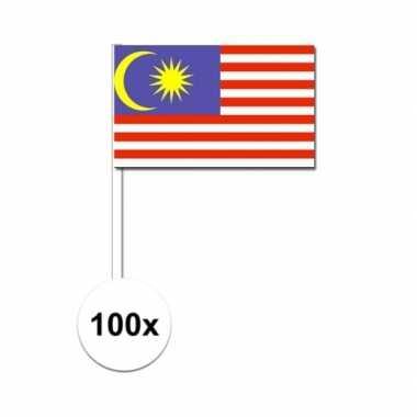 100x maleisische fan/supporter vlaggetjes op stok