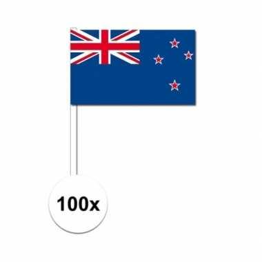 100x nieuw zeelandse fan/supporter vlaggetjes op stok