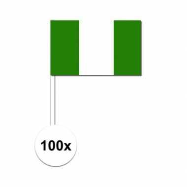 100x nigeriaanse fan/supporter vlaggetjes op stok