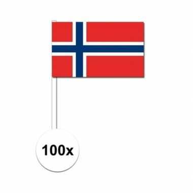 100x noorse fan/supporter vlaggetjes op stok