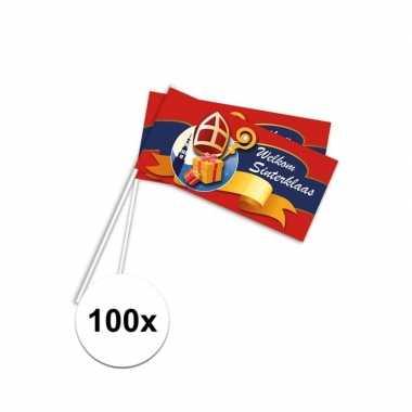 100x pakjesavond rood zwaaivlaggetjes welkom sint