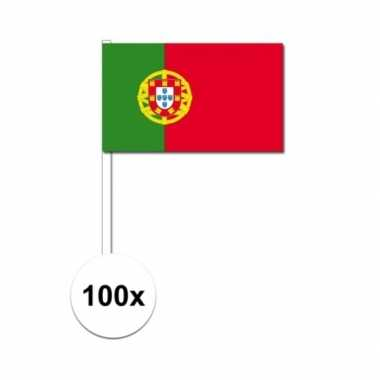 100x portugese fan/supporter vlaggetjes op stok