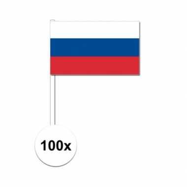 100x russische fan/supporter vlaggetjes op stok