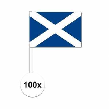 100x schotse fan/supporter vlaggetjes op stok