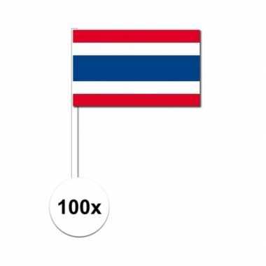 100x thaise fan/supporter vlaggetjes op stok