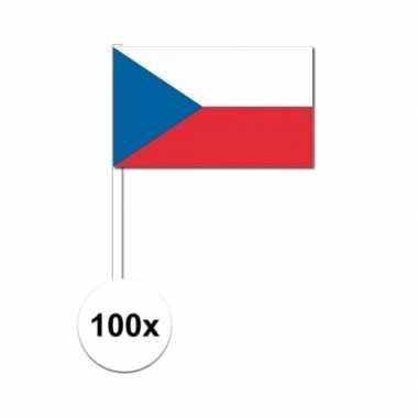 100x tsjechische fan/supporter vlaggetjes op stok
