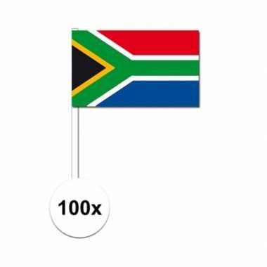 100x zuid afrikaanse fan/supporter vlaggetjes op stok