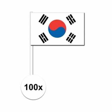 100x zuid koreaanse fan/supporter vlaggetjes op stok