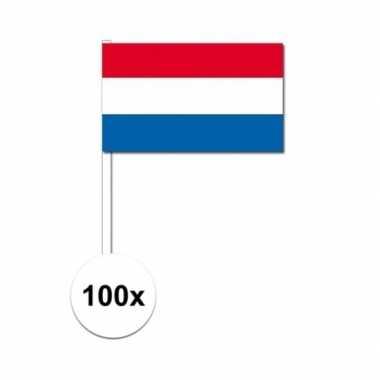 100x zwaaivlaggetjes nederlandse vlag