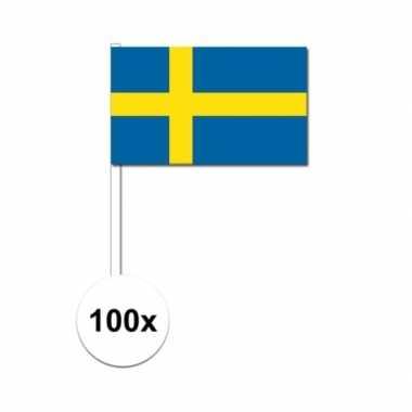 100x zweedse fan/supporter vlaggetjes op stok