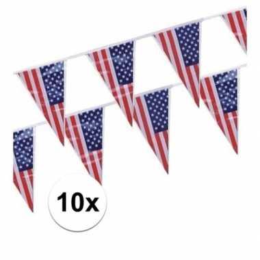 10x amerikaanse/usa vlaggenlijnen van 4 meter