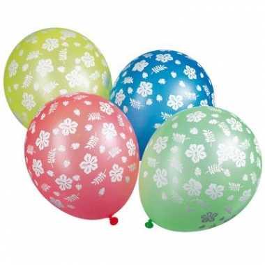 10x ballonnen gekleurde met bloemen