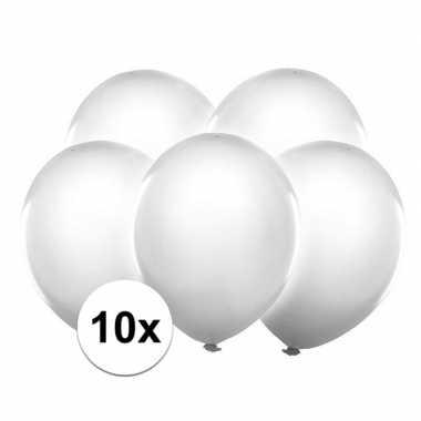 10x ballonnen wit met led verlichting 30 cm